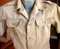 MEDIUM True Vtg 60s VIETNAM ERA Army Khaki Tan MARINES Uniform Shirt