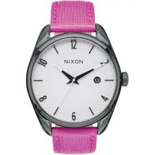 Nixon A473-2049 Bullet Women's Pink Leather Band With White Analog Dial Watch