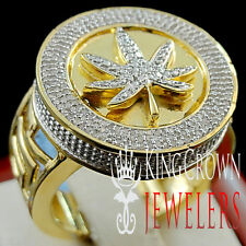 Mens Genuine Diamond Weed Marijuana Leaf Plant Ring Band Real 10K Gold Finish