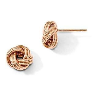 14k Solid Rose Gold Love Knot Cable Design Stud Post Earrings Gift