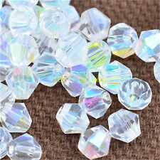 100pcs white ab exquisite Glass Crystal 4mm #5301 Bicone Beads loose beads!