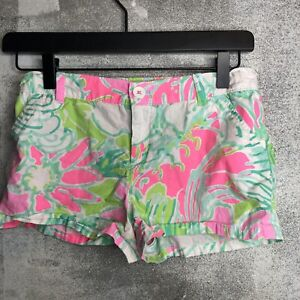 Lilly Pulitzer Girls Shorts Size 12 White Pink Blue Green