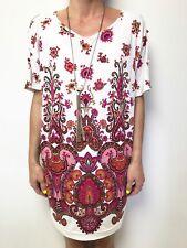 RUBY BY LEONA EDMISTION retro floral batwing short sleeve dress sz xs stretch