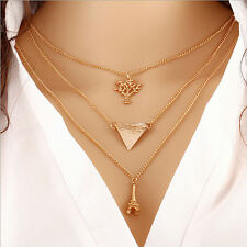 New Women's Golden Sweater Chain Multilayer Ckocker Clavicle Necklace Gift