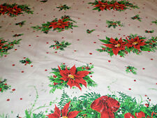 """Vintage Holiday Fabric or Tablecloth 66"""" x 70"""" Bows Greenery Fruit Poinsettias"""