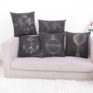 """Retro Black World Map Hot Air Balloon Throw Cushion Case Pillow Cover 18"""" Ancho"""