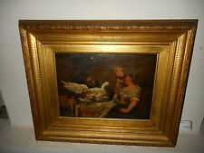"""Antique oil painting, { """"In doubt""""  - child with goose, G. Macintash 1883 }."""