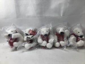 Lot of 5 Mini Coca Cola Plush Polar Bear with Red Scarf - BRAND NEW
