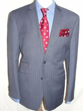 LUXURY MEN AMICI LIGHT NAVY BLUE STRIPE SUIT 42R  (52R EUR) W34 x L32