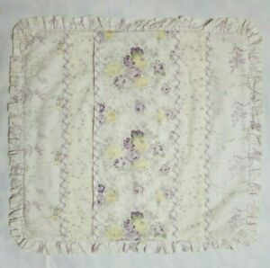 Purple Yellow Cottage Rose Plaid Ruffle Pillow Cover Patchwork Floral 15 x 16