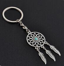New Silver Tone Key Chain Ring Feather Tassels Dream Catcher Keyring Keychain