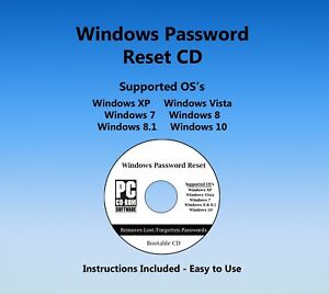 ALL NEW 2018 Windows Password Reset Recovery ALL VERSIONS XP VISTA 7 8.1 10 CD