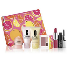 CLINIQUE 7PC Cosmetic Gift Set SPRINGPINKS/Lipstick Ginger Flower New&Sealed $70