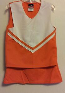 Orange White Cheerleading Top & Skirt Set Size S 3 Side Pleats Alleson Cheer NEW