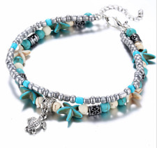 Boho Starfish Turquoise Beads Turtle Anklet Beach Sandal Ankle Foot Jewelry