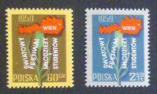 POLAND STAMPS MNH Fi969-70 Sc861-62 Mi1113-14 - Youth festival, 1959, clean
