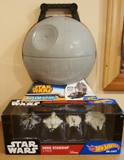 Hot Wheels Star Wars Death Star Play Case And Hero Starship 4 Pack Set !!