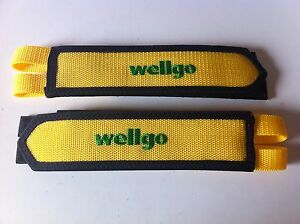 BICYCLE YELLOW TOE CLIP DOUBLE STRAP WELLGO BMX MTB ROAD FIXIE TRACK CYCLING NEW