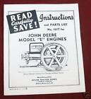 John Deere E hit & miss engine parts list instructions Book Manual