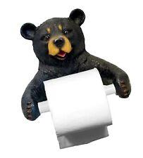 Dwk 8-inch Hugo Holder Black Bear Toilet Paper Holder Rustic Woodland Forest .