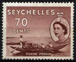 Seychelles 1954-1961 SG#183a, 70c Purple-Brown Fishing Pirogue MNH #D66936