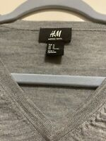 NWOT H&M Mens Long Sleeve Sweater 100% Merino Wool Charcoal Grey Size Medium