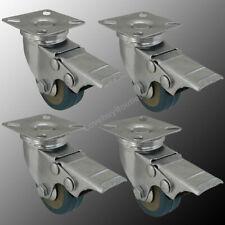 4 Pack 2 Heavy Duty Swivel Wheel Pvc Plate Caster With Lock Brake