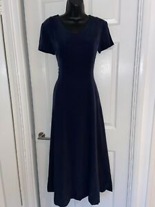 Vintage Laura Ashley Navy Blue 100 💯 Silk A Line Maxi Dress Size 10
