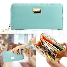 Women Lady Zipper  Faux Leather Clutch Phone Bag Long Purse Wallet Card Holder