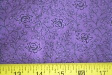 By 1/2 Yd, Black Calico on Lavender Quilting Cotton, N230