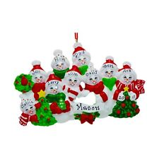 PERSONALIZED Cozy Snowman Family of 9 Christmas Tree Ornament 2019 Holiday Gift