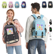 Game Animal Crossing Backpack Travel Laptop Bag Shoulder USB Charging Schoolbag