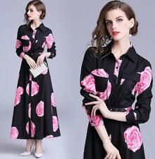 Womens Vintage Floral Single Breasted Lapel Maxi Belt Shirt Dress Ball Gown G747