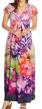 NEW - One World Micro Jersey Flutter Sleeved Back Applique V-Neck Maxi Dress XS
