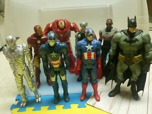 """12"""" Action Figure Lot Of 8 Batman Iron Man And More!"""