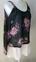 About A Girl Tunic XL Top Blouse BOHO New NWT Cold Cut Out Shoulder Floral Sheer