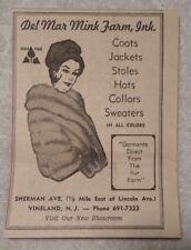 1964 Del Mar Mink Farm Vineland New Jersey Advertisement