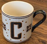 Anthropologie Tiled Letter C Mug Coffee Monogram Tile Mosaic Gold Black Initial
