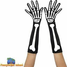 Skeleton Gloves Long Halloween Gloves Mens Womans Fancy Dress Accessory
