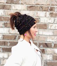 NEW! EKB Messy Bun Knitted Beanie - Black Confetti - Messy Bun Beanie - Ponytail