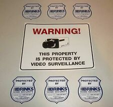 PARTY STORE VIDEO CAMERAS IN USE WARNING SIGN+6 BRINKS ALARM STICKER DECALS