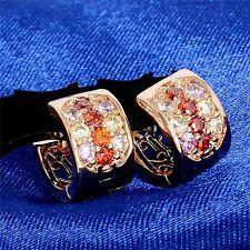 Amazing Multi-colored Fabulous CZ Crystal 18k Gold Plated Ear Hoop Earrings