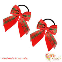 2 x Hair Bow School Girl Woman Ponytail Holders Scrunchies X'mas Party