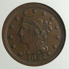 1855 Braided Hair Large Cent, N-9, Knob on Ear, AU-58