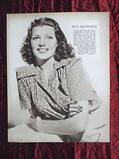 RITA HAYWORTH - FILM STAR - 1 PAGE PICTURE - CLIPPING / CUTTING