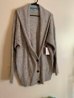 Free People Sz S Cardigan Shawl Collar Button Front Heather Gray $148 NWT