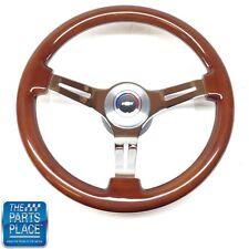 1964-66 Chevy Wood & Chrome Steering Wheel Bowtie Center Cap
