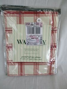 "Waverly Pantry Plaid Crimson Pointed Tab Valance 51"" W x 18"" L NEW"