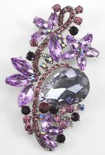 Bridal Wedding Brooch Pin Purple Dazzling Austrian Rhinestone Crystal