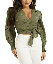 🔥GUESS Kamy Cotton Eyelet Tie-Front Top Small Leaf Green NWT MSRP $79🔥